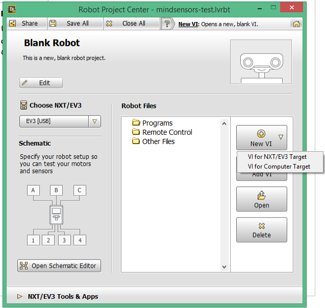 Open a Blank Robot Project in LabVIEW