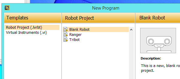 Open a robot project
