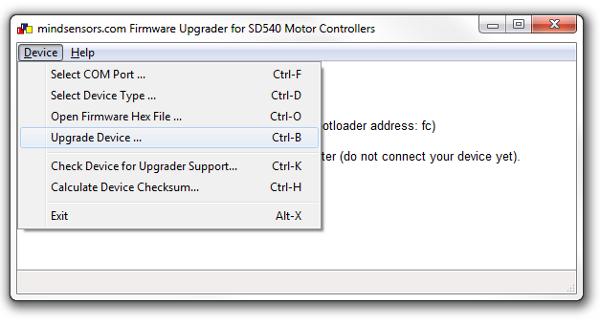 Select Upgrade Device ... Menu