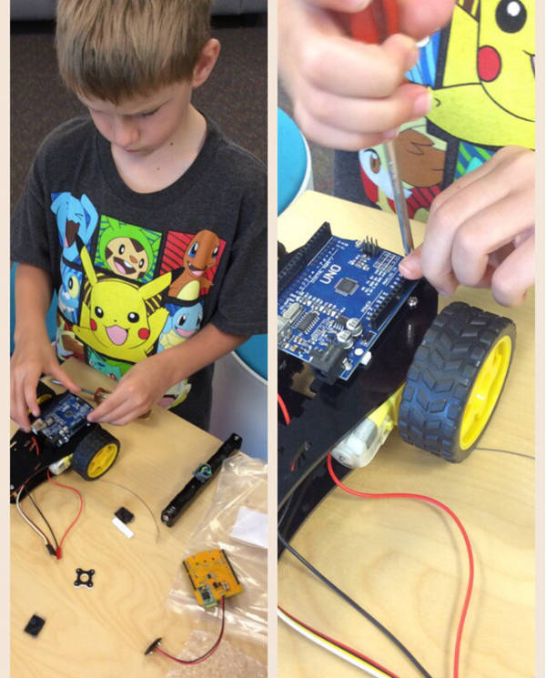 Kids building robot
